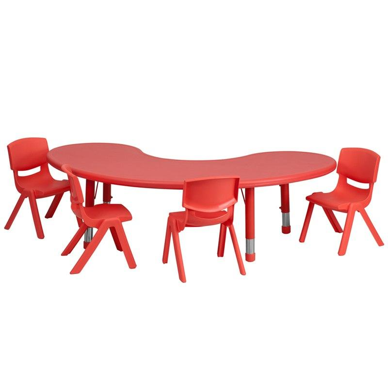Flash Furniture YU-YCX-0043-2-MOON-TBL-RED-E-GG 35''W x 65''L Half-Moon Red Plastic Height Adjustable Activity Table Set with 4 Chairs