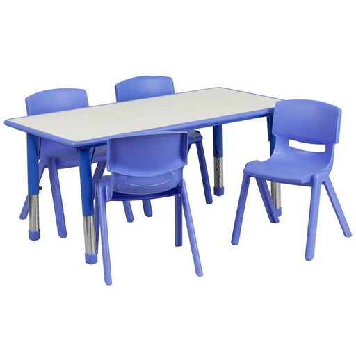 Flash Furniture YU-YCY-060-0034-RECT-TBL-BLUE-GG 23.625''W x 47.25''L Rectangular Blue Plastic Height Adjustable Activity Table Set with 4 Chairs