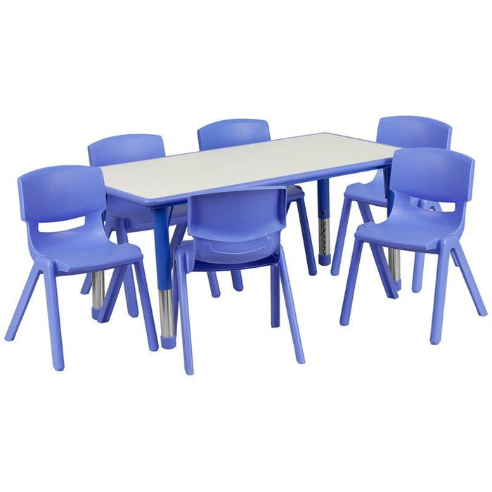 Flash Furniture YU-YCY-060-0036-RECT-TBL-BLUE-GG 23.625''W x 47.25''L Rectangular Blue Plastic Height Adjustable Activity Table Set with 6 Chairs
