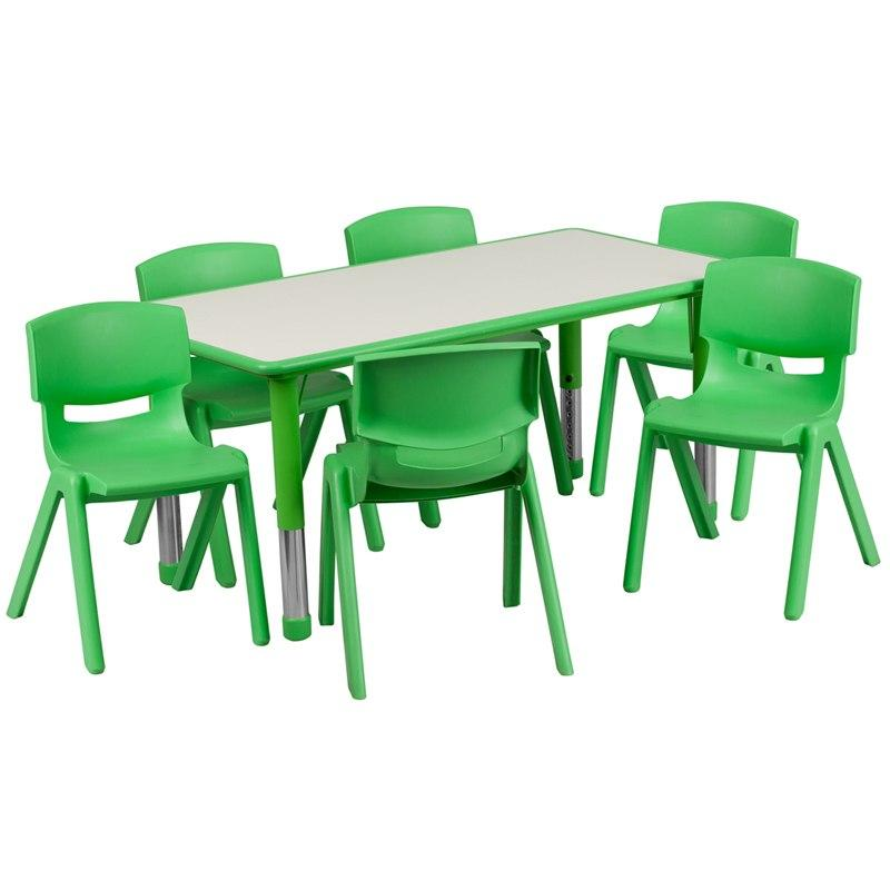 Flash Furniture YU-YCY-060-0036-RECT-TBL-GREEN-GG 23.625''W x 47.25''L Rectangular Green Plastic Height Adjustable Activity Table Set with 6 Chairs