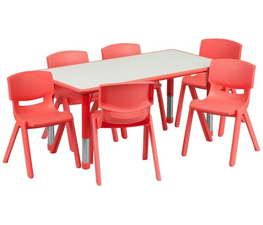 Flash Furniture YU-YCY-060-0036-RECT-TBL-RED-GG 23.625''W x 47.25''L Rectangular Red Plastic Height Adjustable Activity Table Set with 6 Chairs