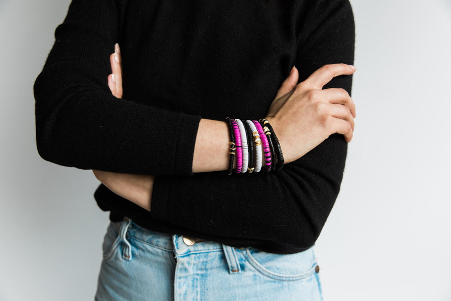 8 Black + White + Deep Pink Stack