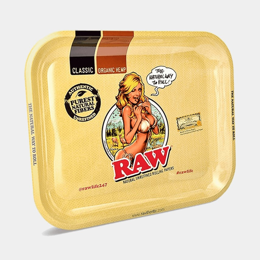 RAW Large Metal Rolling Tray Bikini Girl