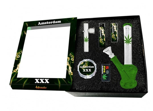 Amsterdam Glass Boxed Gift Set Waterpipe, Kawuun Pipe, Grinder, Screens, and Tips