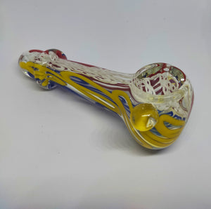 Tricolour Mouth-blown Glass Pipe