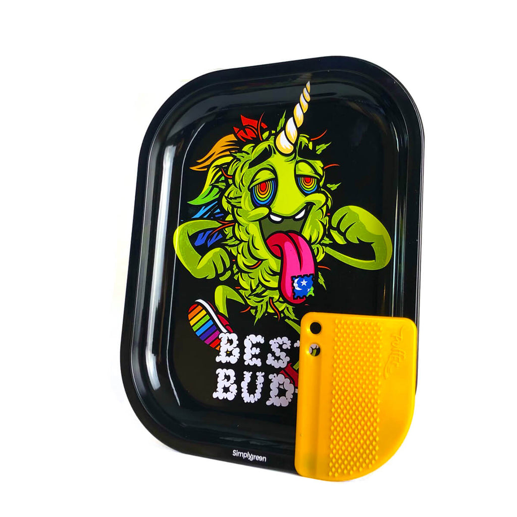 Best Buds - LSD small metal rolling tray + magnetic grinder card