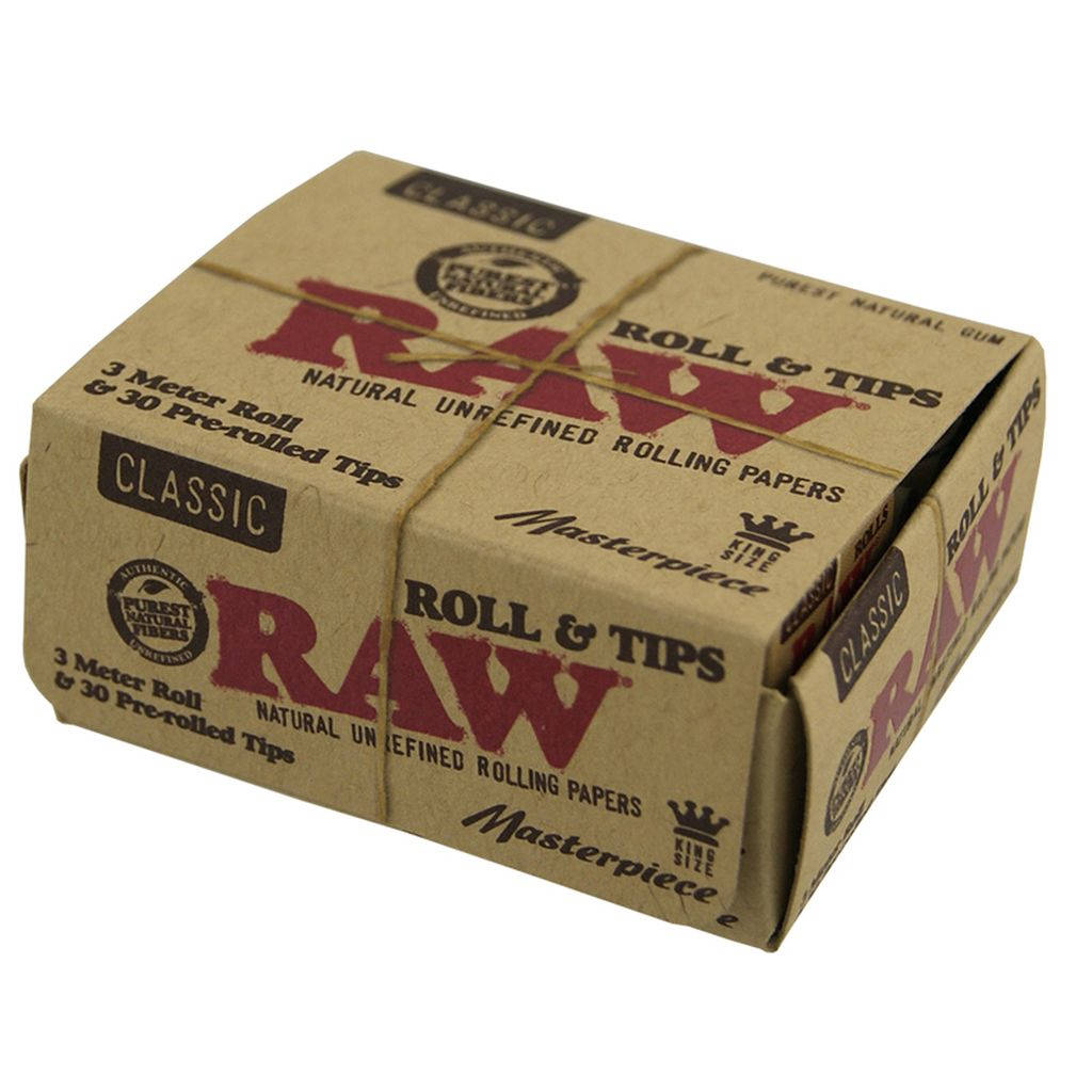 RAW 3 Meter Roll & 30 Pre-rolled Tips