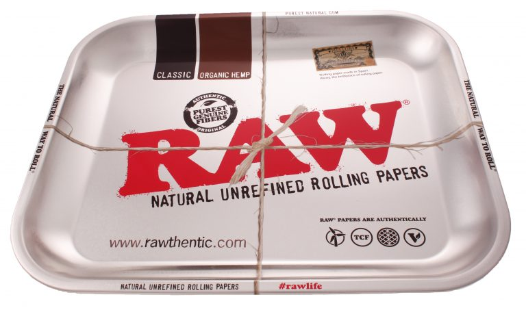 RAW Large Metal Rolling Tray Silver