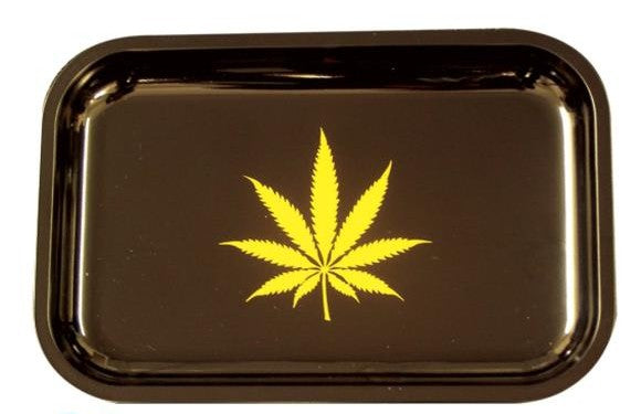 Small Black Rolling Tray with Gold Leaf