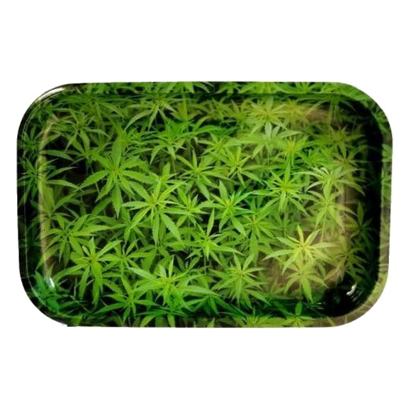 Green Sativa Leaf Medium Rolling Tray