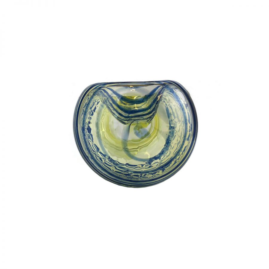 Large Abstract Yellow and Blue Glass Pipe 13 cm