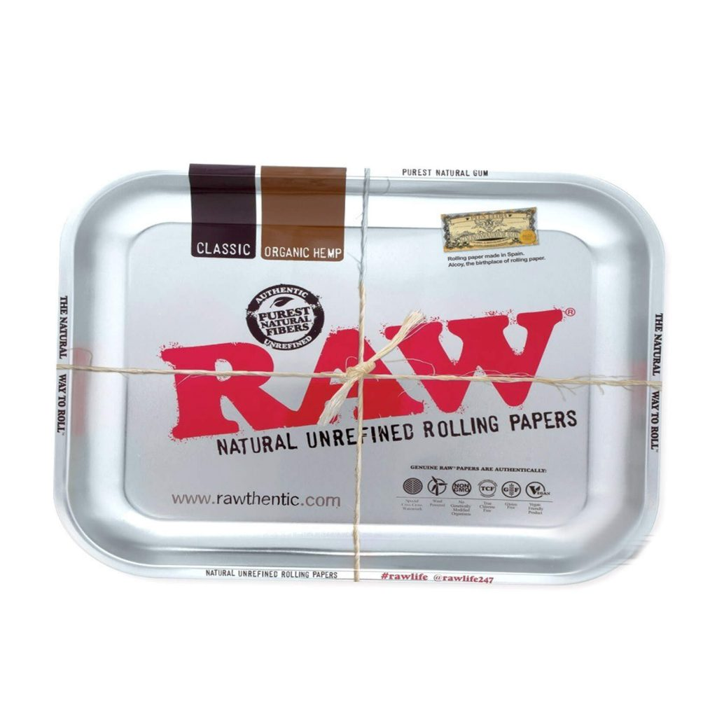 RAW Medium Metal Rolling Tray Silver