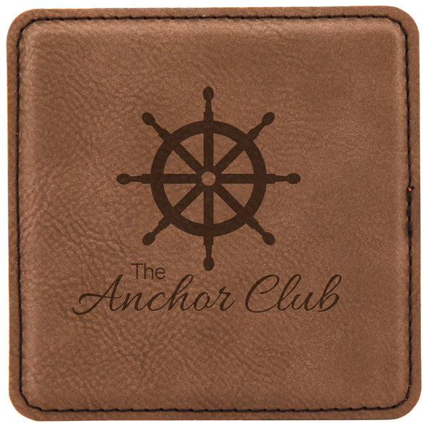 "4"" x 4"" Square Leatherette Coaster"