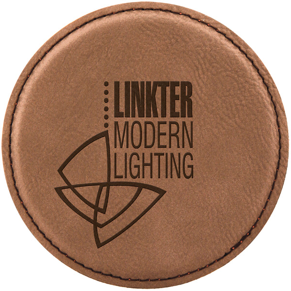 "4"" Round Leatherette Coaster"