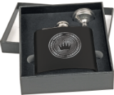 6 oz.Flask Set in Black Presentation Box