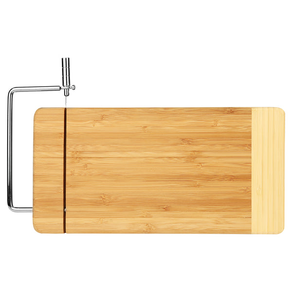 "12"" x 6"" Bamboo Rectangle Cutting Board with Metal Cheese Cutter"