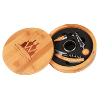 Round Bamboo 4-Piece Wine Tool Set