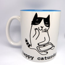 "Load image into Gallery viewer, Super Limited Edition Drinkware-Coffee Cup ""Happy Caturday"" - Katie and Olivia Handmade Goodies"