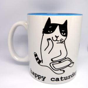 "Super Limited Edition Drinkware-Coffee Cup ""Happy Caturday"" - Katie and Olivia Handmade Goodies"