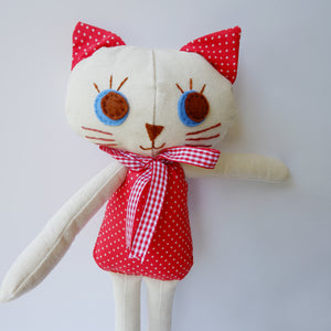 Handmade Katie Kat Cat Doll 12 inches- Audrey - Katie and Olivia Handmade Goodies
