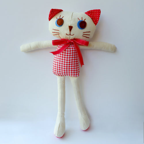Handmade Katie Kat Cat Doll 12 inches- Rosie - Katie and Olivia Handmade Goodies