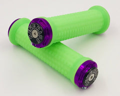 Revgrips Neon Green with Purple Clamps
