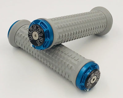 Revgrips grey on blue clamps