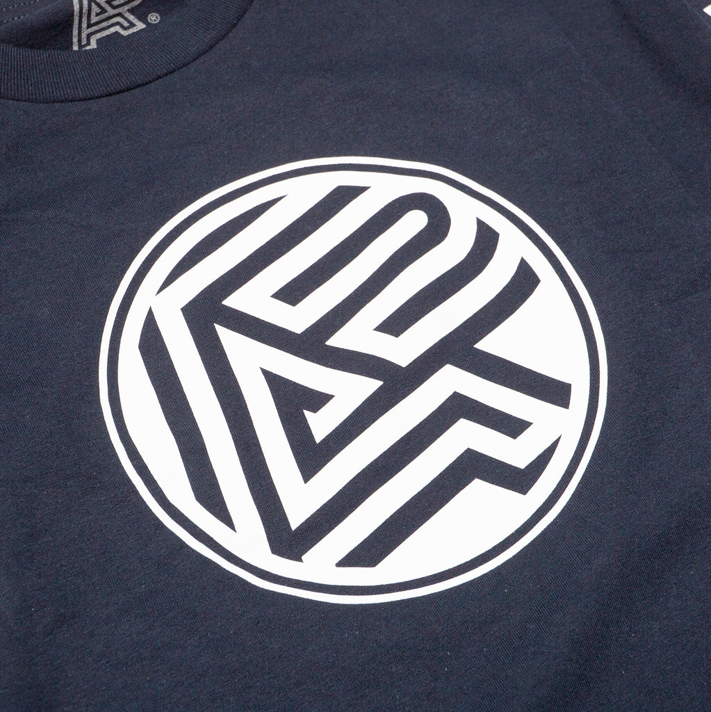 A&P BLOCK LOGO LS TEE NAVY BLUE