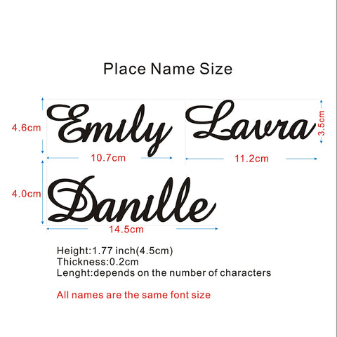 Personalized Party Name Place Card Size