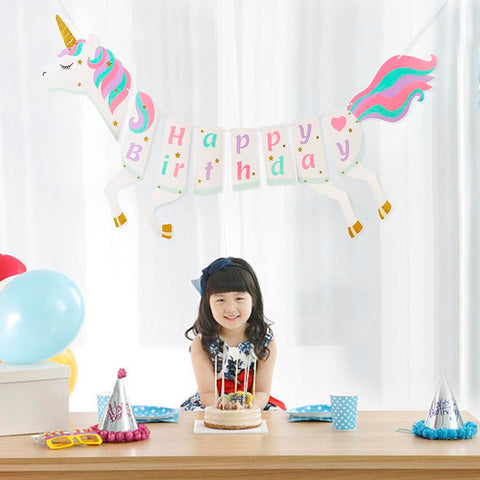 Children's Unicorn Birthday Banner