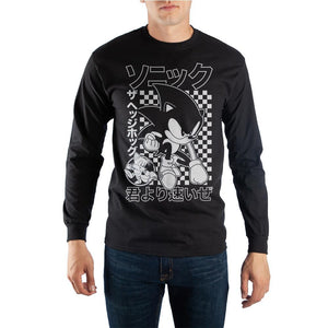 Sonic The Hedgehog Finish Line Kanji Text Long-Sleeve T-Shirt