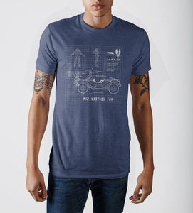 Halo Warthog Blueprint Design Navy Blue Graphic Print T-Shirt