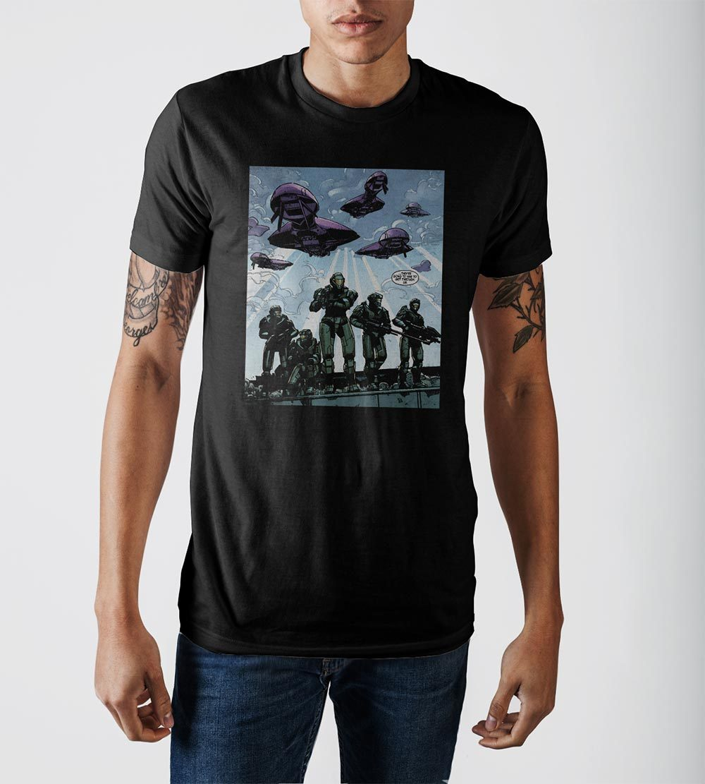 Halo Comic Battle Black Soft Hand Print T-Shirt