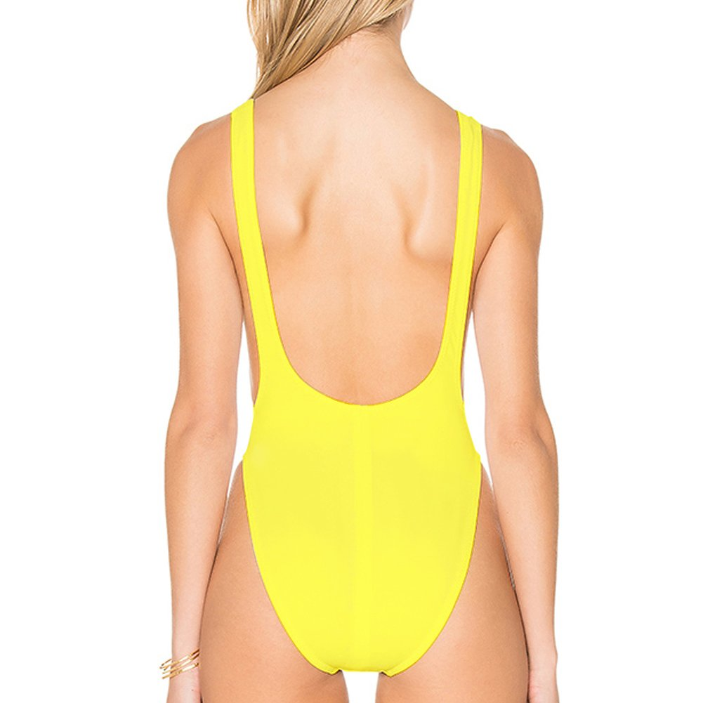 83b4f894a54 Dixperfect 90s Trend One Piece Swimsuit Low Cut Sides Wide Straps High Legs  for Women