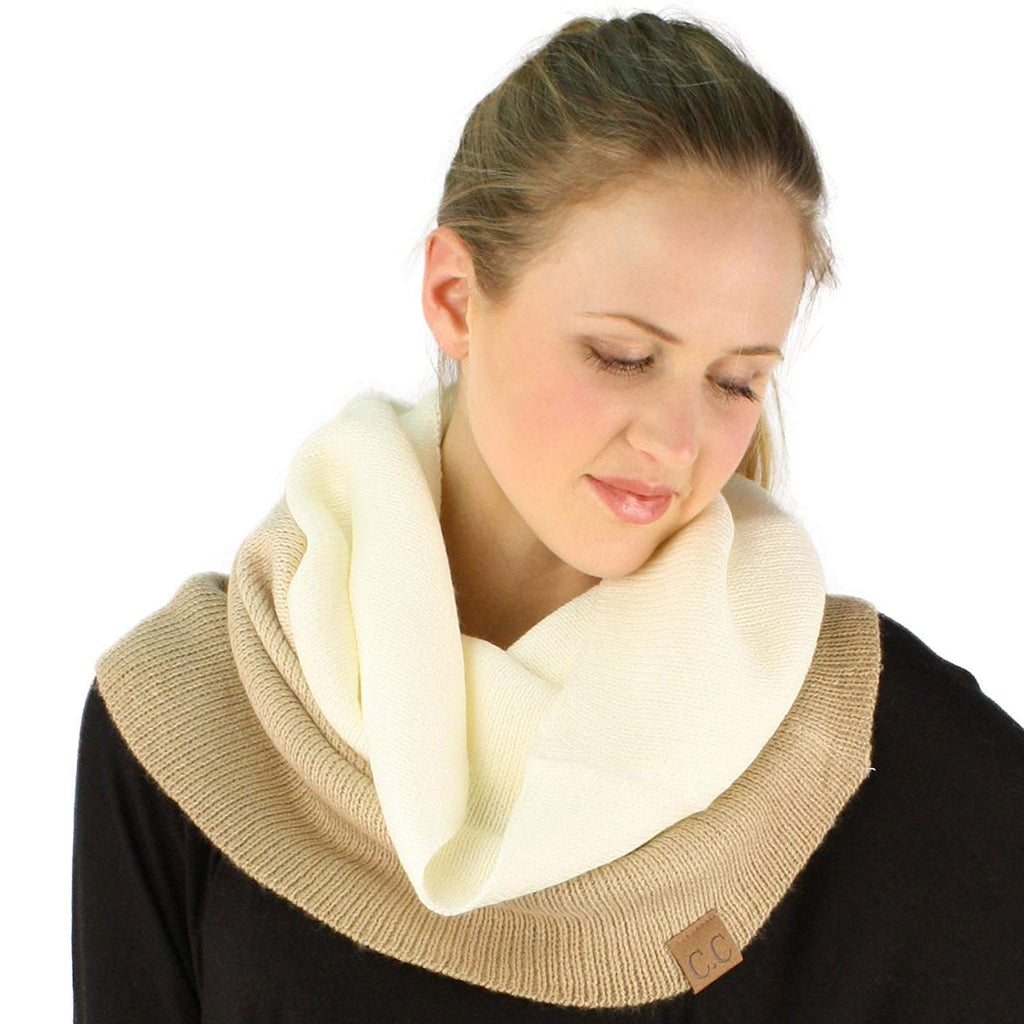 Winter Matching Pullover Knit Single Loop Tube Infinity Hoodie Cowl Scarf Beige