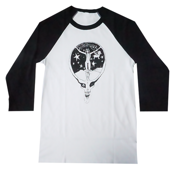 Black and White Skull Logo Raglan
