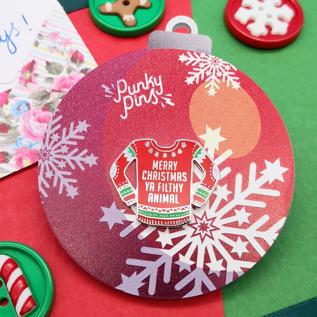 Home Alone Themed Christmas Jumper Enamel Pin Bauble