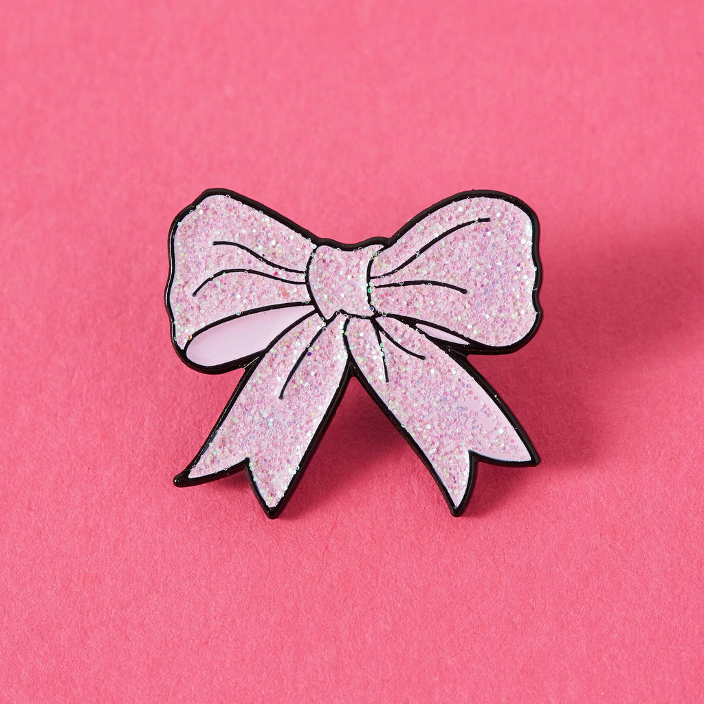Lemon Gift Box - Pink Glittery Bow Enamel Pin | Punky Pins