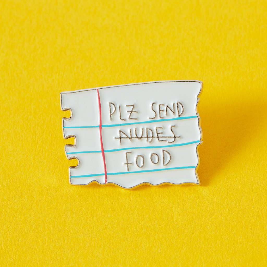 'Plz Send Food' Enamel Pin