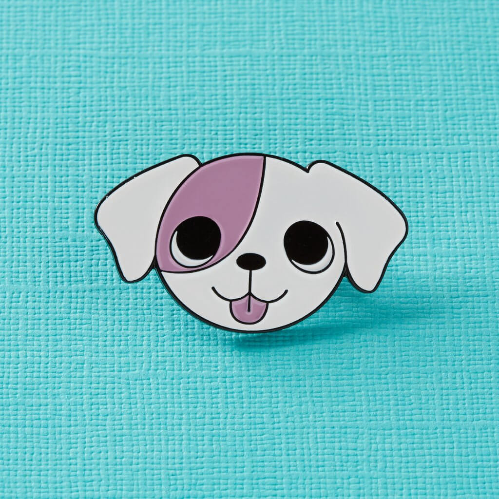 Pink Patch Puppy Enamel Pin