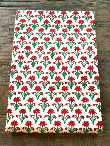 Block Print Table Linen- Holiday Poinsettia petite  120 x 80""