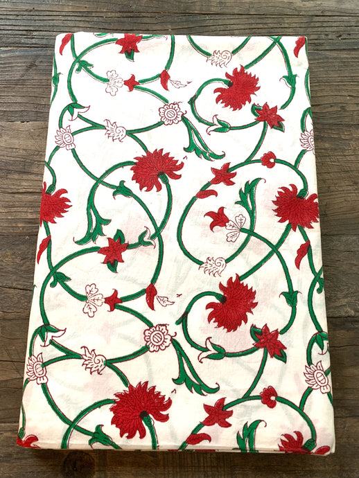 Block Print tablecloth -Holiday Vine 120 x 80""