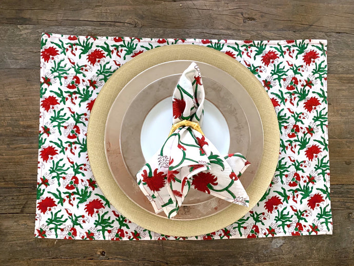 Block Print- Holiday Vine dinner napkins