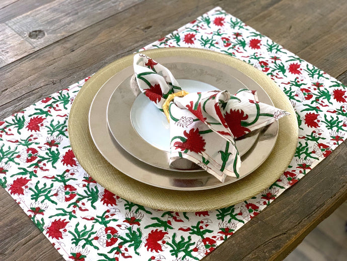 Block print- Holiday Poinsettia Place Mat