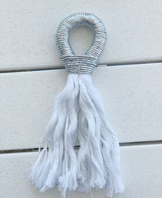Fall/Holiday Rosé Tassel- metallic silver