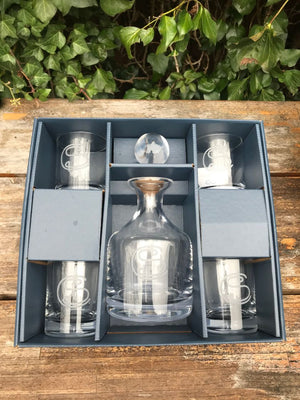 Drinkware | Sterling Cut Glass Classic Whiskey Decanter Set SC