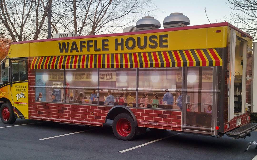 Waffle House food truck at Sweetens Cove Golf Club.