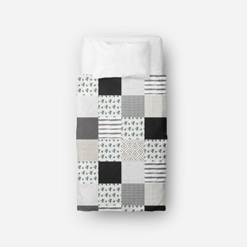 Couverture de lit simple | Cactus monochrome