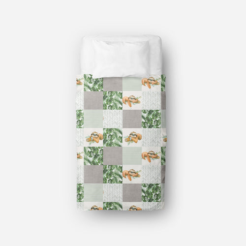 Couverture de lit simple | Safari Jungle Paresseux Patchwork
