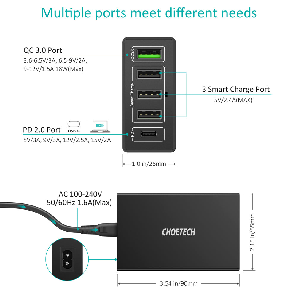 5 Ports Qualcomm Quick Charge 3.0 USB Charging Q34U2Q by Choetech